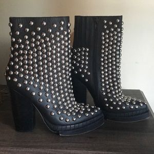 Rare Jeffrey Campbell Whos-It Studded Black Boots